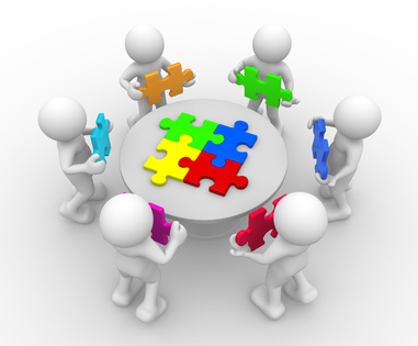 3d people - human character , person in circle, a table with puzzle pieces ( jigsaw ). 3d render